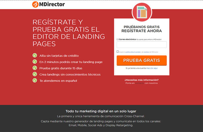 landing page mdirector